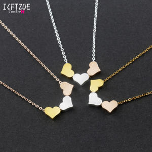 Love Pendant Necklace Gold-Collars Charms Romantic Stainless-Steel Women Heart Trendy