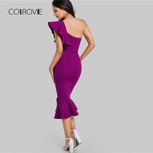 Image 2 - COLROVIE Purple Ruffle One Shoulder Slit Sexy Dress Women 2018 Autumn High Waist Sleeveless Party Dress Elegant Long Dresses