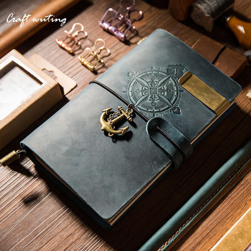 Vintage Traveler's Notebook Handmade Journal Genuine Leather Cowhide Diary Spiral Loose Leaf Now BUY 1 Book Get Accessories
