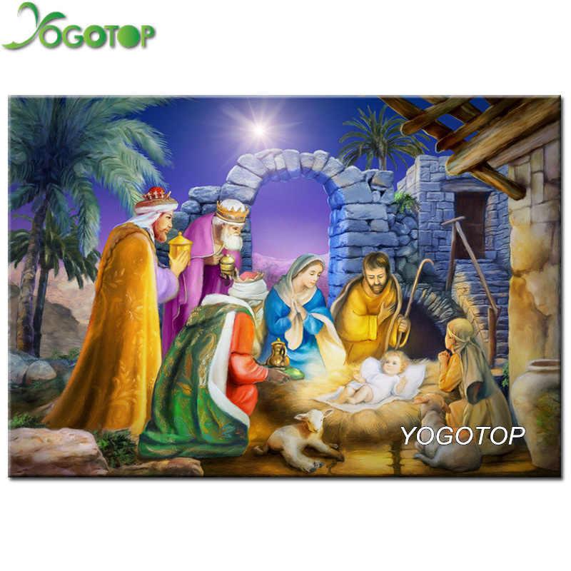Yogotop DIY Алмазная картина наборы вышивки крестиком Иисуса рождения 5D алмазная вышивка домашний декор полная Алмазная вышивка рисунок CV375