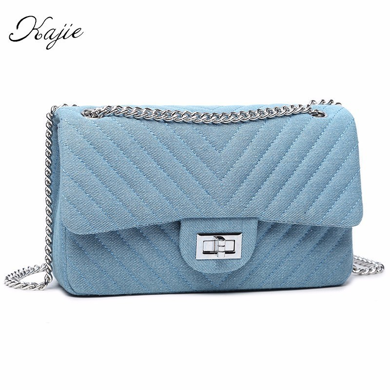 Luxury Designer Handbags Women Shoulder Bag Chains Flap Messenger Bags Ladies Diamond Lattice Blue Black Denim Crossbody Bags стоимость