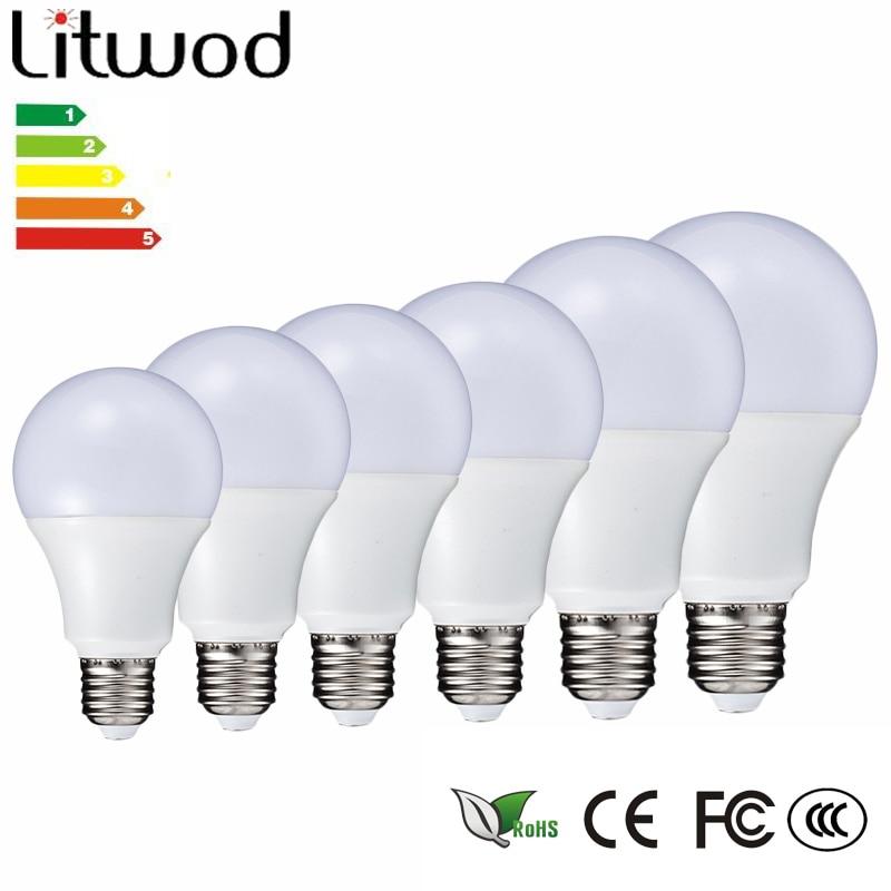 Litwod Z20 LED Lamp E27 220 V-240V Gloeilamp Smart IC Real Power 3 -15 W Hoge Helderheid Ball bulb cool white & warm white