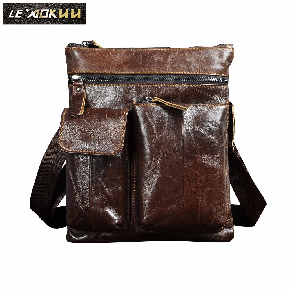 "Quality Leather Male Design Shoulder Messenger bag Casual fashion Cross-body Bag 10"" Tablet School University Student bag 308"