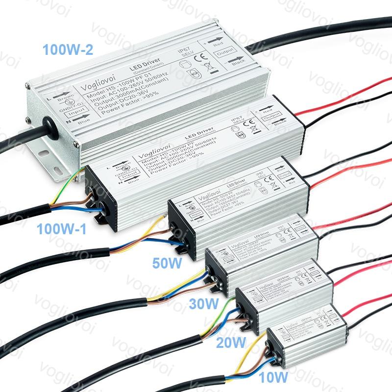 Vogliovoi, Controlador LED de 10 W, 20 W, 30 W, 50 W, 100 W, potencia total, impermeable para proyectores, lámpara de campana montaje alto, AC110V, AC220V, Aluminio Controlador cree XHP70 6v 5 modo dia26mm input7-18v output6V 4A controlador de linterna Led de corriente constante