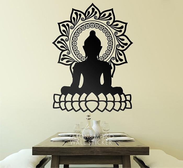 Home decorative vinilos decorativos buda y flor de loto for Stickers vinilos decorativos