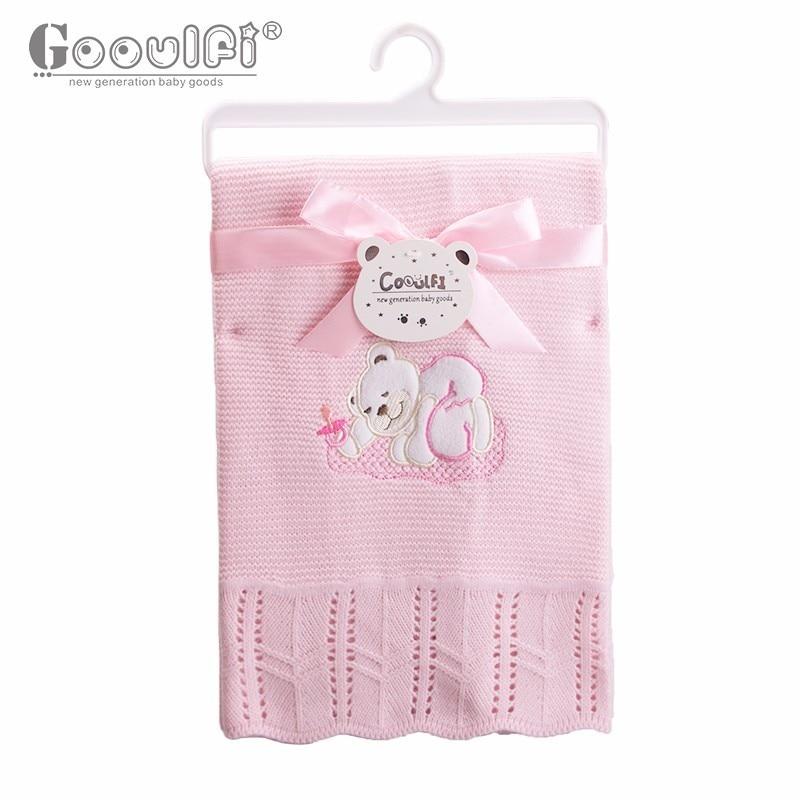 GOOULFI crochet bébé couverture bébé enfants couverture bleu À Tricoter bébé châles acrylique bébé couvertures nouveau-né pour les garçons doux 2017