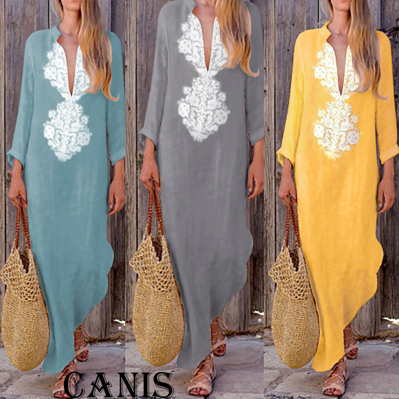 633d96d99e2 Detail Feedback Questions about Women Autumn Boho Long Holiday Maxi Loose  Dress Ladies Casual Party Evening Beach V Neck Dresses New Fashion Sundress  on ...