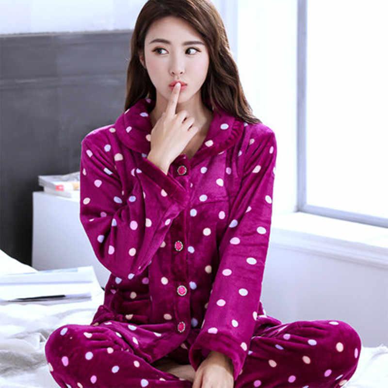 dc37ba5a2b ... Mujer Pijamas de invierno conjunto caliente Sexy pijamas de franela de poliéster  pantalón lleno dama dos