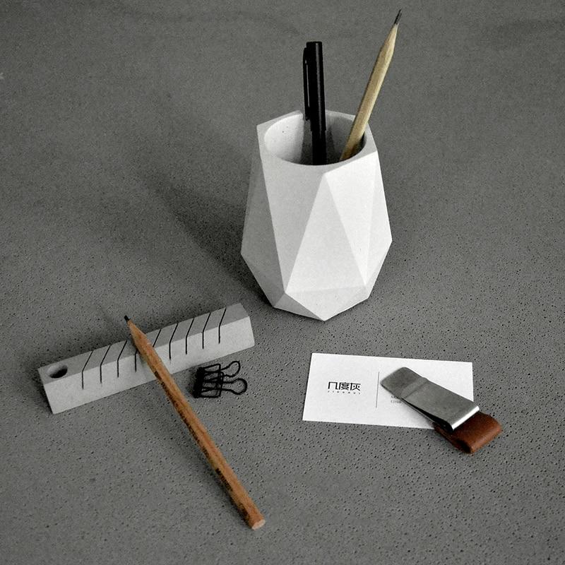Творческий геометрические полигон бетонных кашпо карандаш ваза формы украшения офиса глины ремесел цемента ручки контейнера силиконовые ...