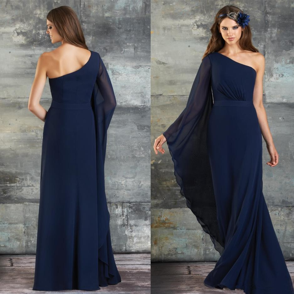 f20277a94a8 2015 Navy Blue Chiffon Prom Dresses One Shoulder Singer Long Sleeve And  Column Floor Length Elegant Formal Praty Dresses