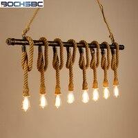 BOCHSBC Лофт веревка Подвесные светильники 6 главы Главная деко Гостиная лампа кафе бар Hanglamp Nordic Ретро промышленных декоративные лампы