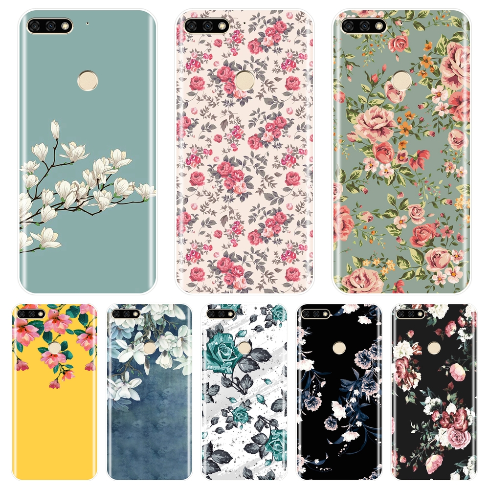 For Huawei <font><b>Honor</b></font> 7 8 <font><b>9</b></font> 10 <font><b>Lite</b></font> 7S 7X 7A 7C Pro Phone <font><b>Case</b></font> Silicone Rose Flower Soft Back Cover For Huawei <font><b>Honor</b></font> 10 <font><b>9</b></font> 8 8X MAX image
