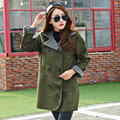 Fur Lamb Lapel Thickening Paragraph Suede Woolen Female Jacket army green winter women retro wild coat
