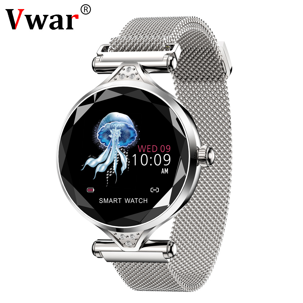 2019 Date Vwar H11 Montre Smart Watch Femmes 3D Diamant En Verre Coeur Taux Sang Pression Sommeil Moniteur Meilleur Cadeau Dames Smartwatch