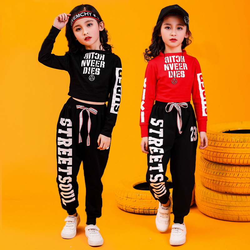 Kid Hip Hop Clothing Sweatshirt Top Crop Shirts Running Casual Pants For Girls Jazz Dance Costume Wear Ballroom Dancing Clothes