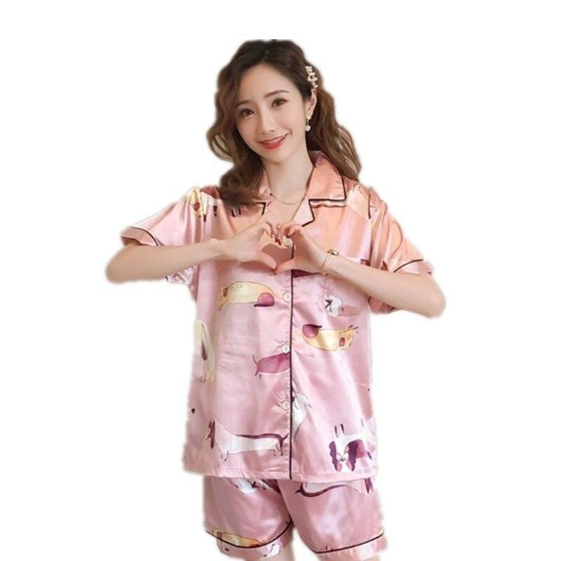 Pajamas for Women Short Sleeve Shirt Silk Pyjamas Women Summer Pajama Sets Silk Pijama Sleepwear Pyjamas Plus Size Nightwear Set
