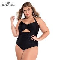 Hotapei Plus Size One Piece Swimwear Women 2017 Retro Floral Print Swimsuit Halter Sexy Push Up