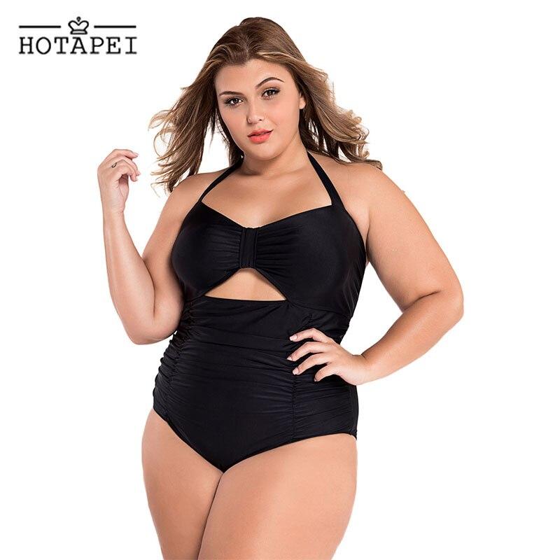 Hotapei plus size <font><b>one</b></font> <font><b>piece</b></font> swimwear <font><b>Black</b></font> <font><b>Halter</b></font> Ruched <font><b>Swimsuit</b></font> L41859 women 2018 new sexy Biquini bathing suit Monokini XXXXL