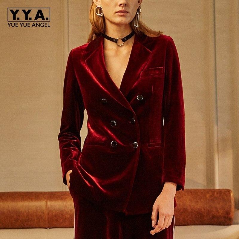 British Luxury Women Double Breasted Velvet Blazer Suit Elegant Party Office Lady Retro Slim Fit Wide Leg Pants Blazers Suits
