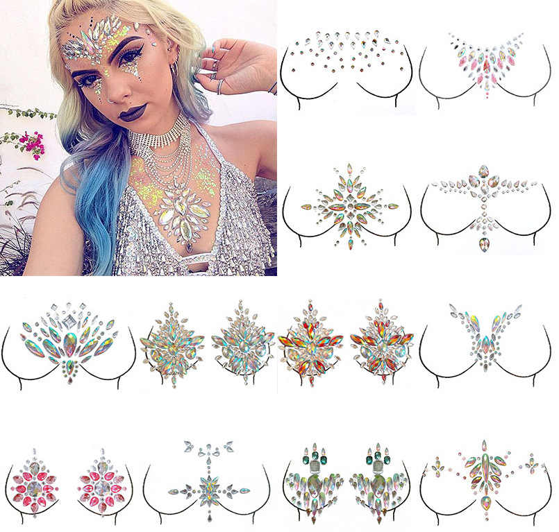 Temporary Rhinestone Glitter Tattoo Stickers Set Resin Face Jewels Stickers Festival Makeup Acrylic Chest Face Crystal Stickers