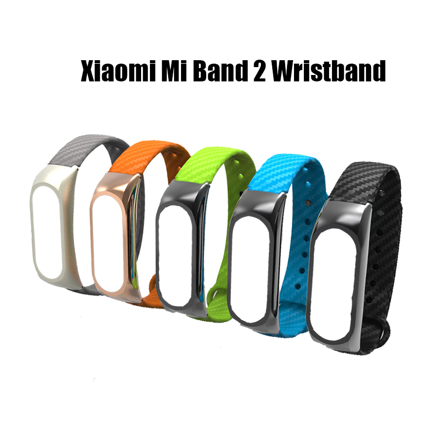 Silicone Carbon Fiber Wrist Strap for Xiaomi Mi Band 2 Bracelet Extended Strap Replacement Wristband Band Accessories Reemplaz