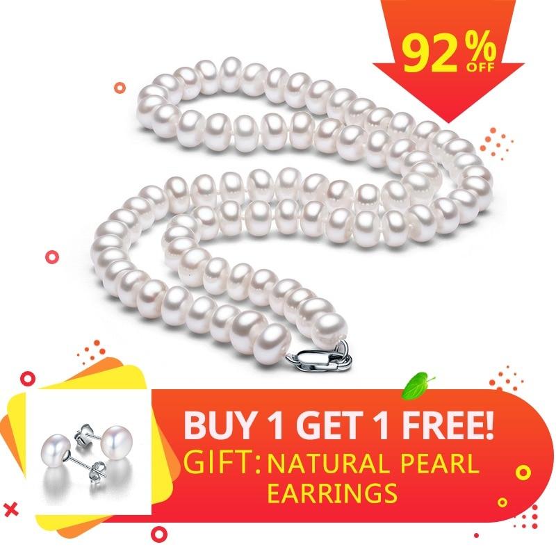 Putih Mutiara Air Tawar Alami Kalung Untuk Wanita 8-9mm Kalung Manik-manik Perhiasan 40 cm / 45 cm / 50 cm Panjang Kalung Fashion ...