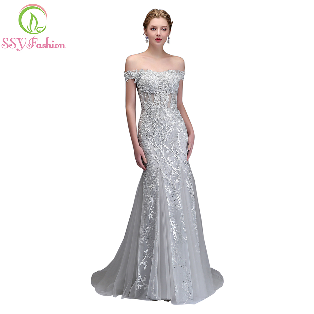 4361f9b0c58b SSYFashion New Luxury Mermaid Lace Evening Dress High-end Banquet Elegant  Grey Appliques with Beading Fishtail Prom Party Gown