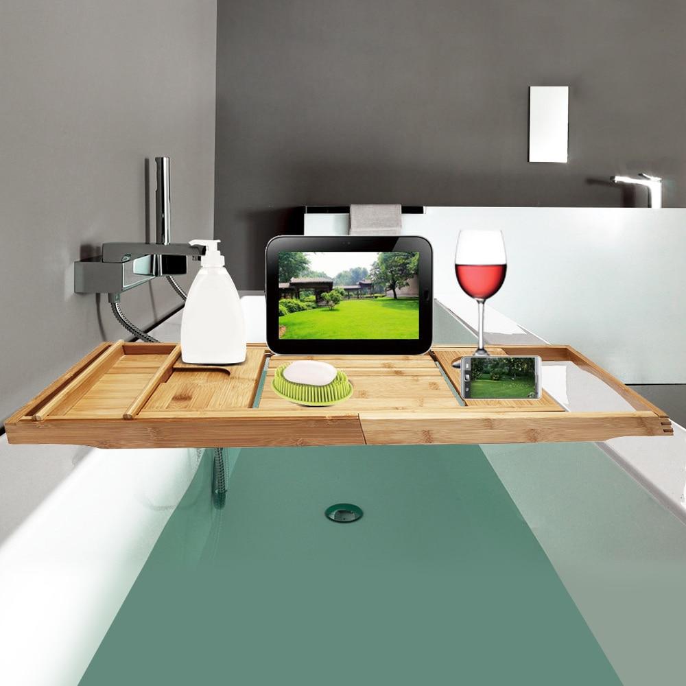 100% Natural Bamboo Bathtub Caddy Tray Organizer Extendable Bathroom Shelf Stand Bath Tray Book