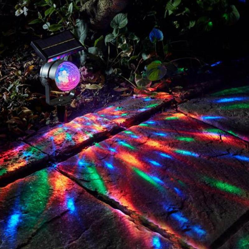 Solar Colorful Rotating LED Projection Light Garden Lawn Lamp Outdoor Decor Bulb Home Supplies Novelty Projector Decoration Lamp