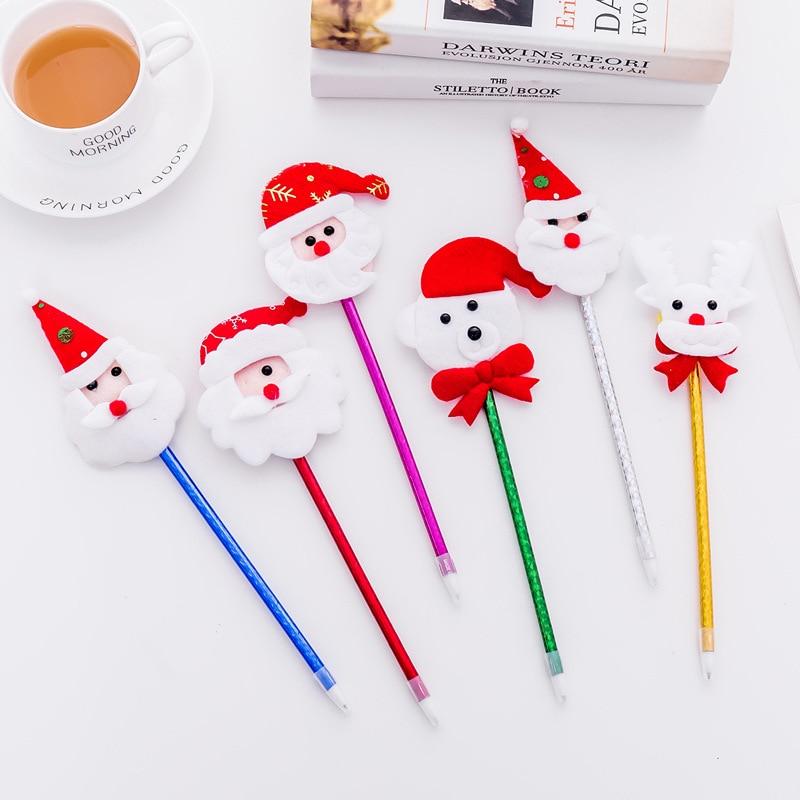 2Pcs/Lot Novelty New Cute Merry Christmas Bear Deer Snowman Santa Clause Gift Ballpoint Pen Ball Pen Stationery Gift E0731