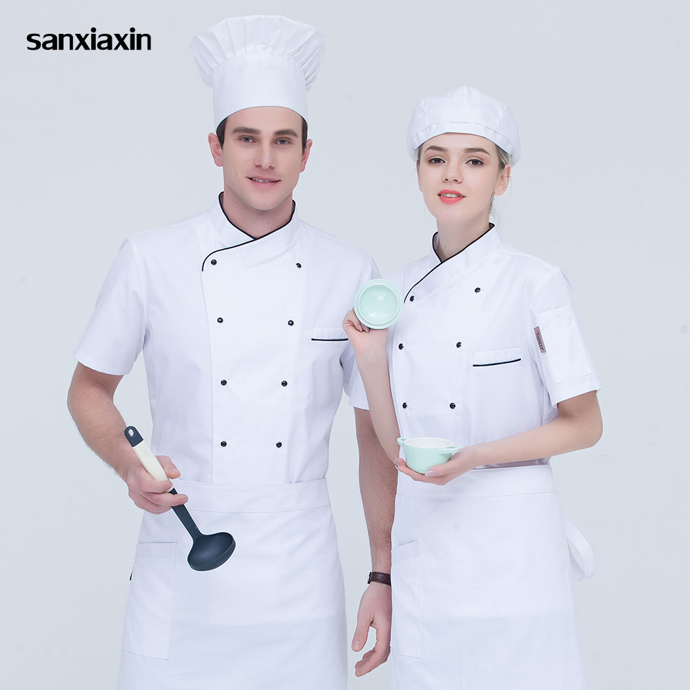 High Quality Double Breasted Chef Shirts Food Service Chef Uniforms Restaurant Catering Work Clothes Short Sleeves Chef Jackets