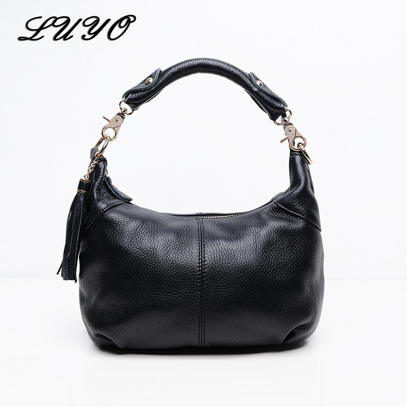 LUYO Half Moon Real Cow Genuine Leather Tote Handbag Lady Black Messenger Bag Female Tassels Hobos Crossbody Bags For Women 2017 winter jacket men size m xxl high quality thicken men parka jacket zipper fashion short men bomber jacket page 7