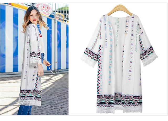 6XL Bohemian Style 2019 Summer Long Cardigan Large size sun protection clothing Casual Boho Tassel Ladies Shirts Women Tops V767