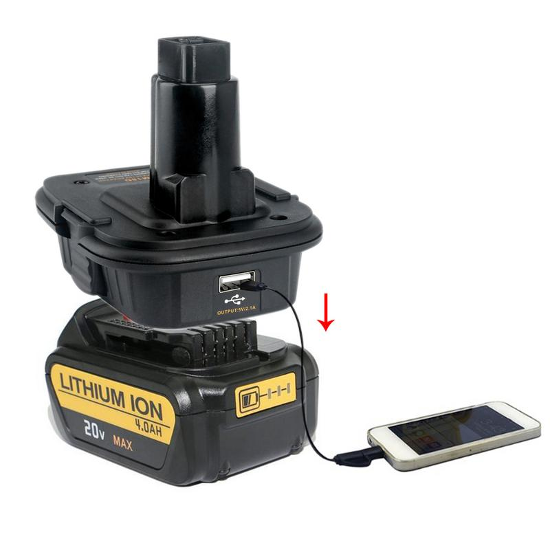 DM18D Battery Adapter For Dewalt 18V/20V Convertor Adapter With USB Lithium Ion Battery For DE9096 DC9096 DC9098 18V Battery батарея аккумуляторная для инструмента pitatel для dewalt de9503 dc9096 de9039 de9095 de9096 dw9096 dw9095 2 6ah 18v