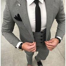 Мужские костюмы в клетку с узором «гусиная лапка», сшитые по индивидуальному заказу, черные свадебные мужские костюмы с узором «гусиная лапка», пиджак+ брюки+ жилет