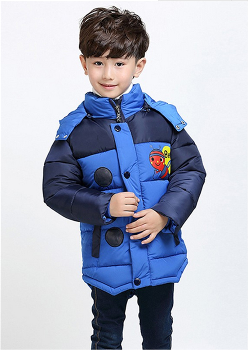 Winter Jacket Boy 2017 Bees Hooded Down Jackets Kids Warm Outerwear Children Clothes Infant Boys Coat Fit for 2 3 4 5 Years old