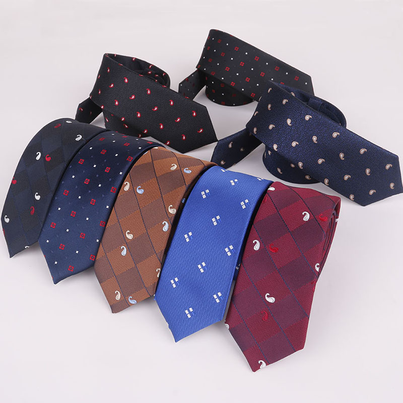 Vornehm Mantieqingway Dünne Krawatte Für Anzug Shirt Schmale 5 Cm Dünne Krawatten Für Männer Fashion Plaid & Dot Design Krawatte Weihnachten Geschenk