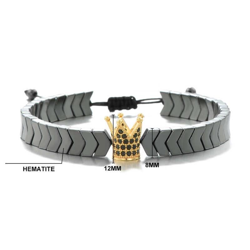 Панк натуральный черный гематитовый браслет мужской ручной работы DIY плетеный Канат бразильский Hombre Роскошная большая корона Braslet Pulseira повязки