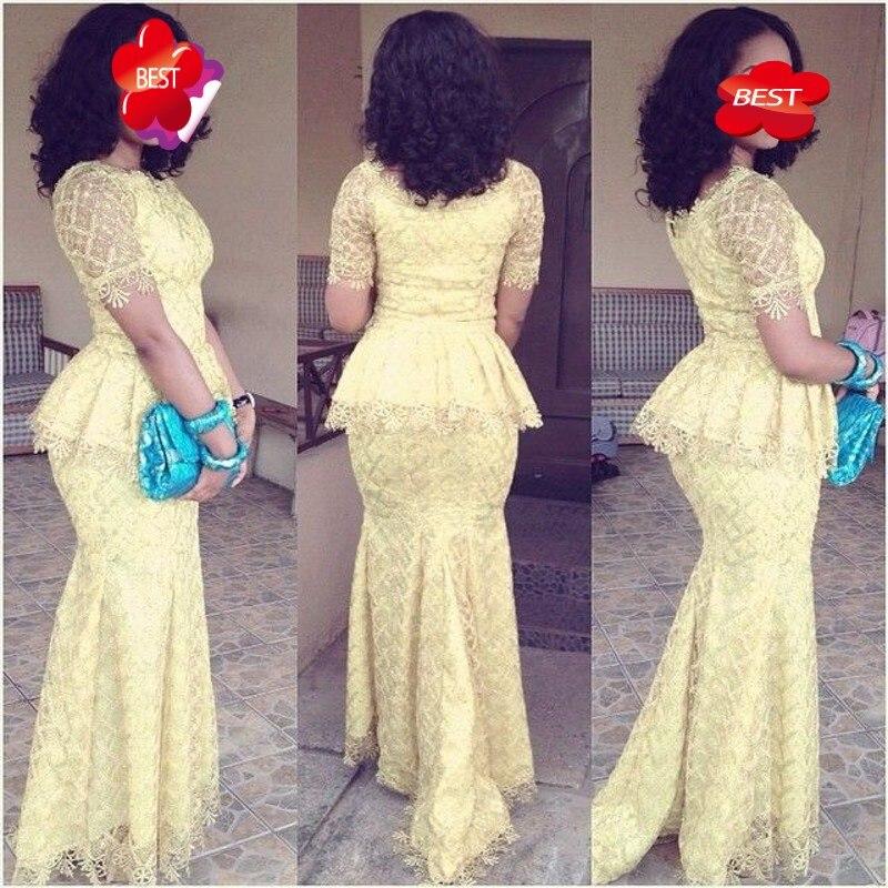 Light Yellow Evening Dresses Long Mermad Sleeves robe de soiree 2018 Peplum Elegant Evening Dress Pageant