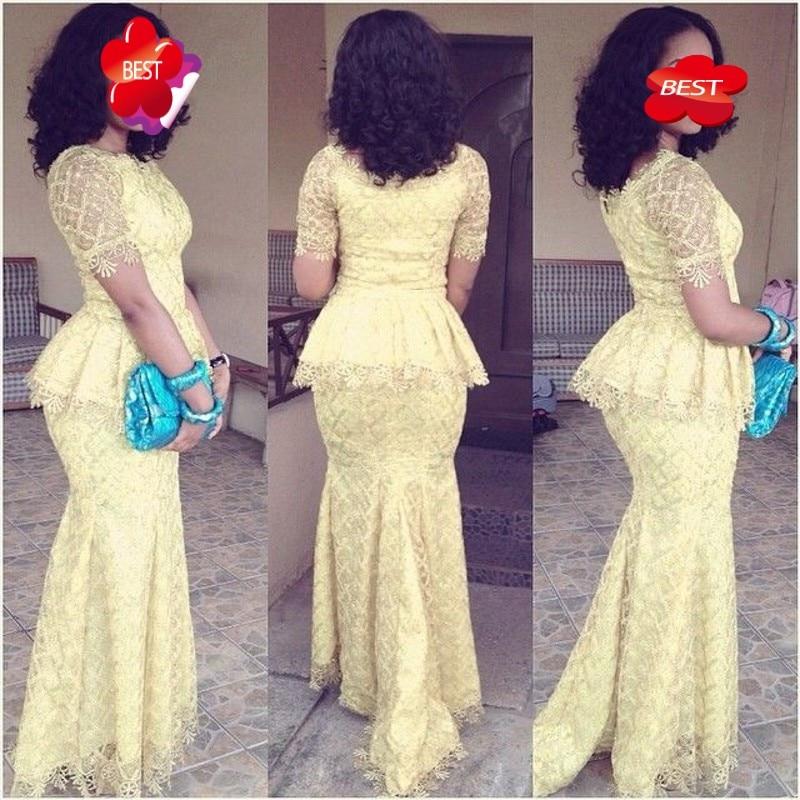Light Yellow   Evening     Dresses   Long Mermad Sleeves robe de soiree 2018 Peplum Elegant   Evening     Dress   Pageant Gowns vestido longo
