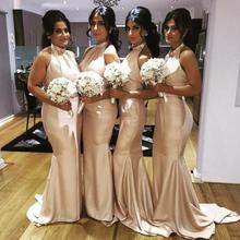 Cheap Bridesmaid Dresses Mermaid Style Halter Satin Sweep Train Bridesmaid Dress Backless Sexy Wedding Party Gowns  BD152