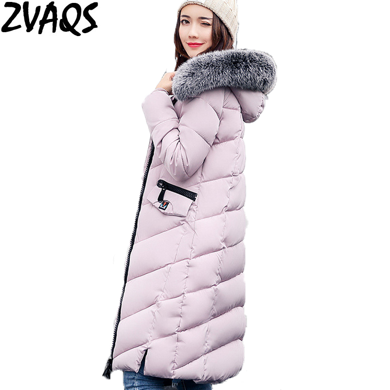 ZVAQS 2017 Hot Selling Women's Winter Coats Warm Thick Female Jackets Parka mujer Large Fur hooded Casacos femininos ST112