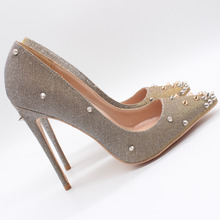 Free shipping fashion women Pumps lady Glitter studded spikes Pointy toe high heels shoes 12cm 10cm 8cm bride wedding shoes недорого