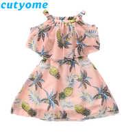Teenage Girls Dresses Summer Pineapple Print Child Off Shoulder Dress Toddler Kids Clothes Teen Girl Dress 9 10 12 13 14 16 Year