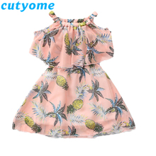 Teenage Girls Dresses Summer Pineapple Print Child Off Shoulder Dress Toddler Kids Clothes Teen Girl Dress 9 10 12 13 14 16 Year