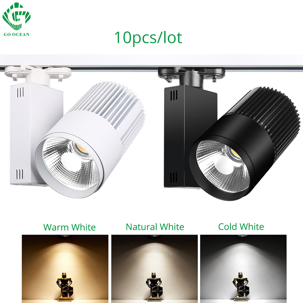 Track Light LED 40W COB Rail Spot Lamp Shoe Clothes Store Shop Lighting Rails Aluminum Showroom Spotlight 2/3/4 Wire 3 phase ...