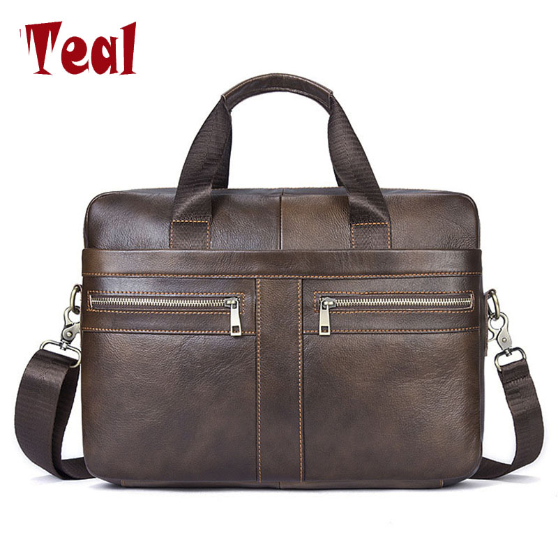 2018 Briefcases Business Men Handbag 100% Premium Cow Leather Bag Men Messenger Bags Best Laptop Bags with Handle