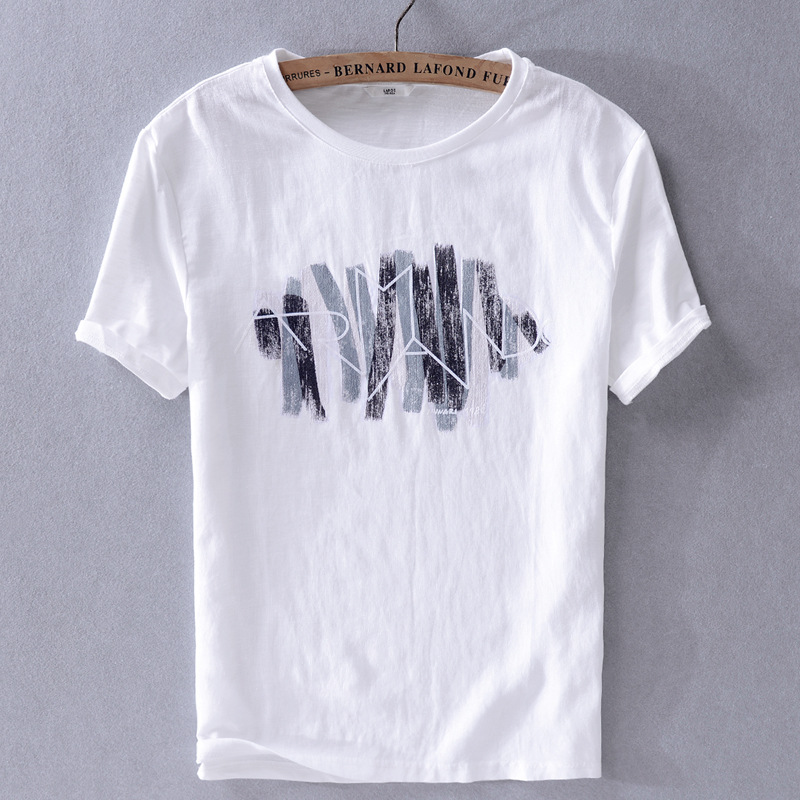 T Shirt Men 2019 O-Neck Summer New Print Fashion Slim Fit TShirt High Quality Plus Size Casual Tops Y116