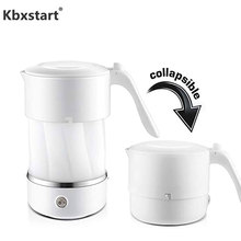 Купить с кэшбэком Portable Silicone Foldable Electric Travel Kettle Camping Mini Water Boiler Dry Heating Preservation Chaleira With 110~220V Plug