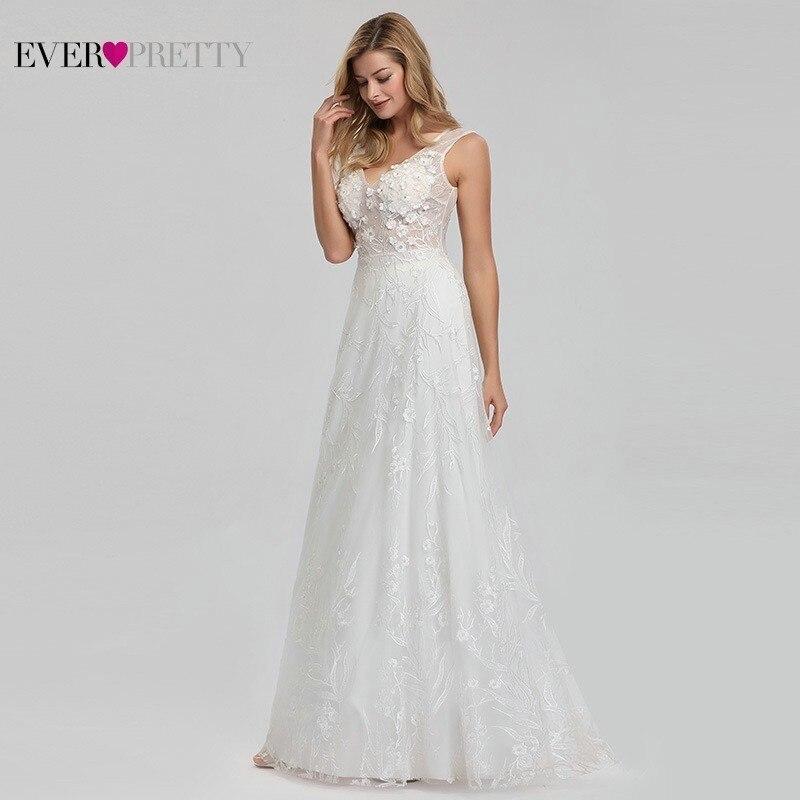 Elegant Lace Wedding Dresses Ever Pretty EZ07832CR A Line V Neck Bride Boho Wedding Gowns Vestido